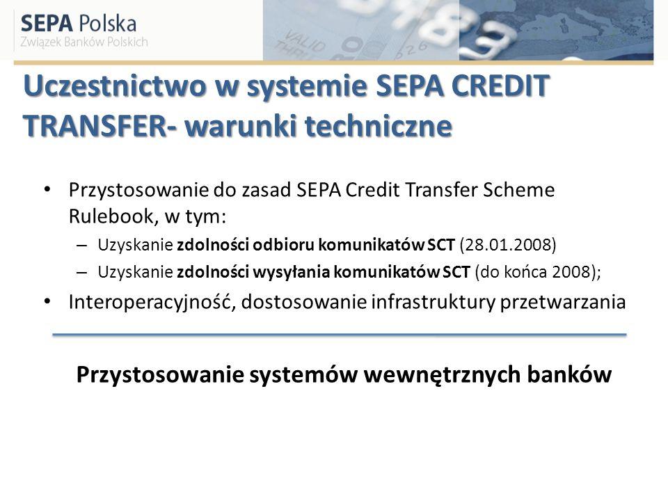 Uczestnictwo w systemie SEPA CREDIT TRANSFER- warunki techniczne