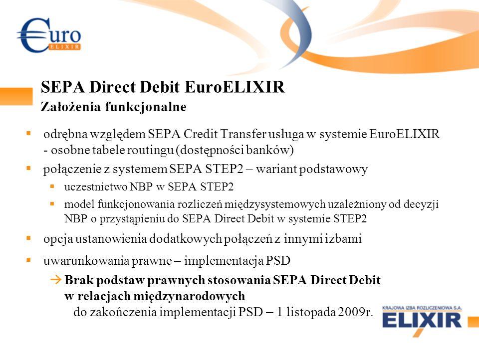 SEPA Direct Debit EuroELIXIR Założenia funkcjonalne