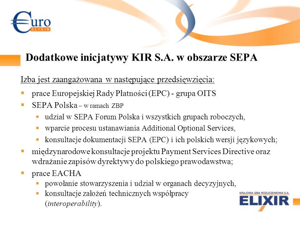 Dodatkowe inicjatywy KIR S.A. w obszarze SEPA