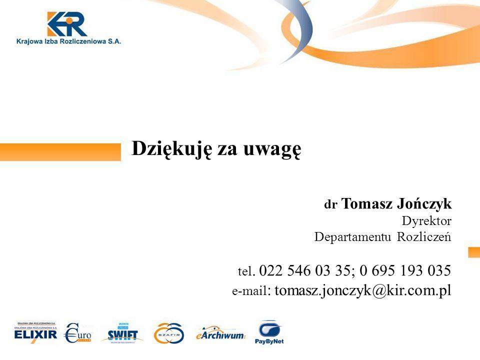 Dziękuję za uwagę dr Tomasz Jończyk Dyrektor Departamentu Rozliczeń