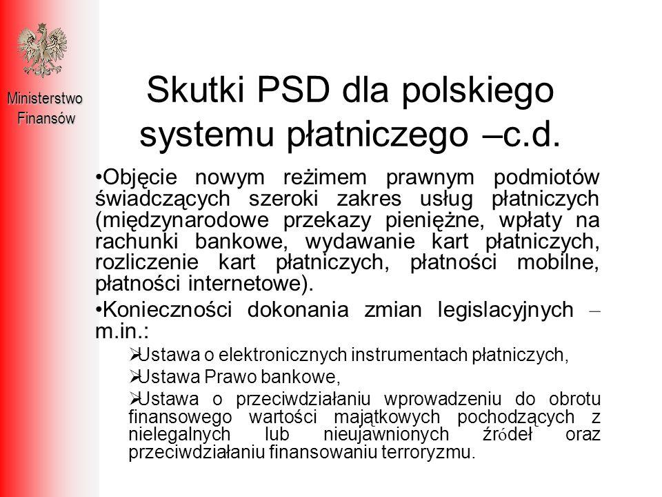 Skutki PSD dla polskiego systemu płatniczego –c.d.