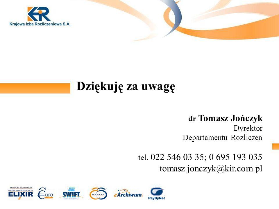 Dziękuję za uwagę tomasz.jonczyk@kir.com.pl dr Tomasz Jończyk Dyrektor