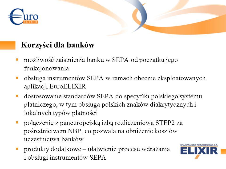 Korzyści dla banków możliwość zaistnienia banku w SEPA od początku jego funkcjonowania.