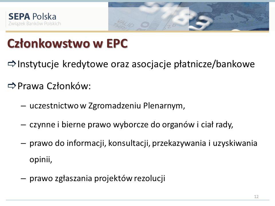 Członkowstwo w EPC Instytucje kredytowe oraz asocjacje płatnicze/bankowe. Prawa Członków: uczestnictwo w Zgromadzeniu Plenarnym,