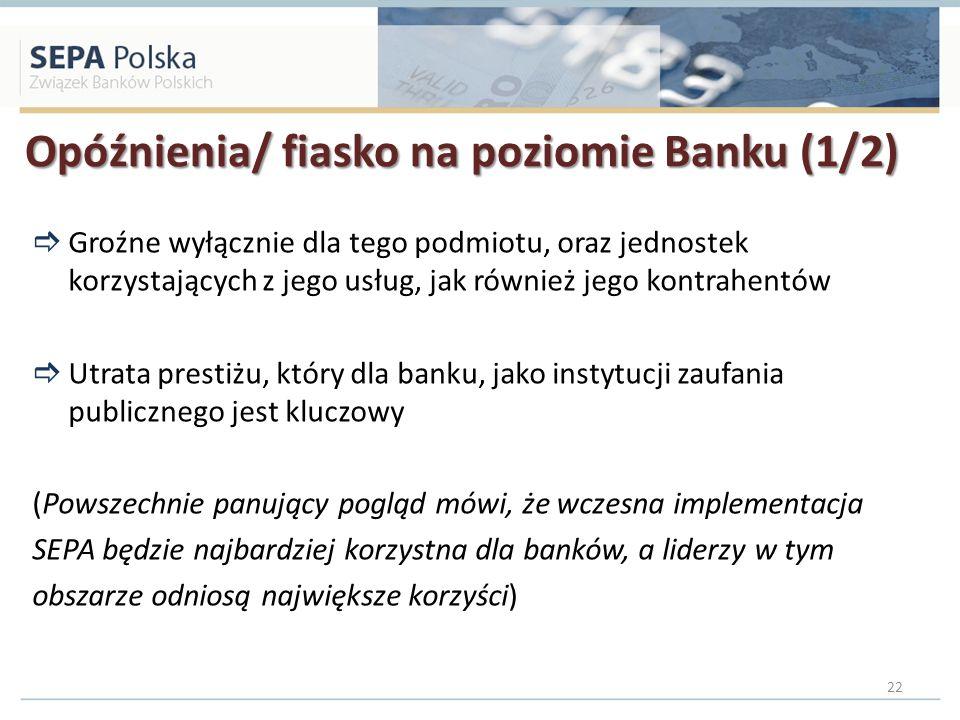 Opóźnienia/ fiasko na poziomie Banku (1/2)