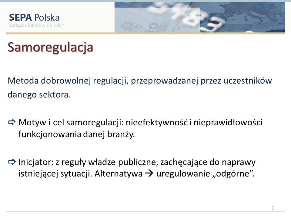 Samoregulacja Metoda dobrowolnej regulacji, przeprowadzanej przez uczestników. danego sektora.