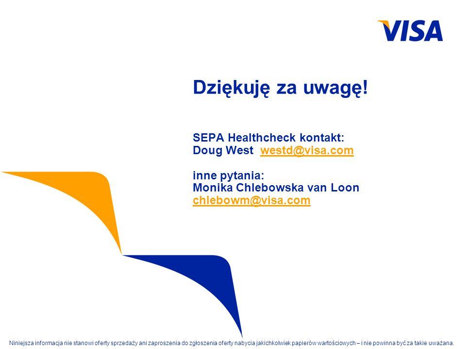 Dziękuję za uwagę. SEPA Healthcheck kontakt: Doug West westd@visa