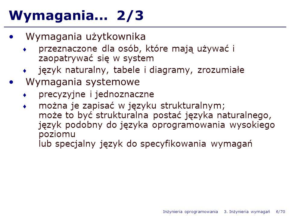 Wymagania... 2/3 Wymagania użytkownika Wymagania systemowe