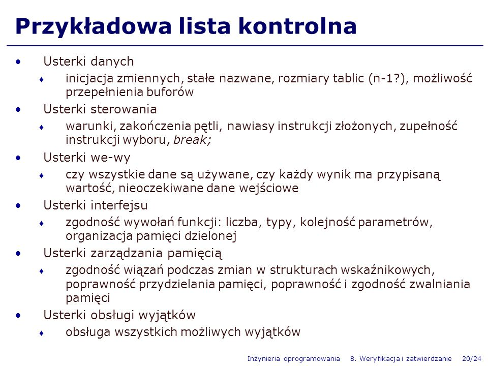 Przykładowa lista kontrolna