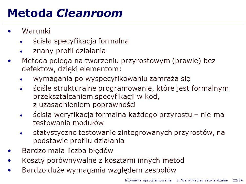 Metoda Cleanroom Warunki ścisła specyfikacja formalna