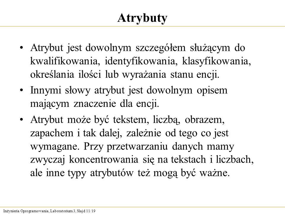 AtrybutyAtrybut jest dowolnym szczegółem służącym do kwalifikowania, identyfikowania, klasyfikowania, określania ilości lub wyrażania stanu encji.