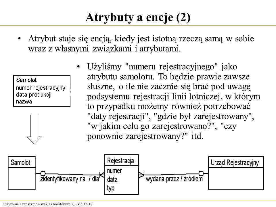 Atrybuty a encje (2) Atrybut staje się encją, kiedy jest istotną rzeczą samą w sobie wraz z własnymi związkami i atrybutami.