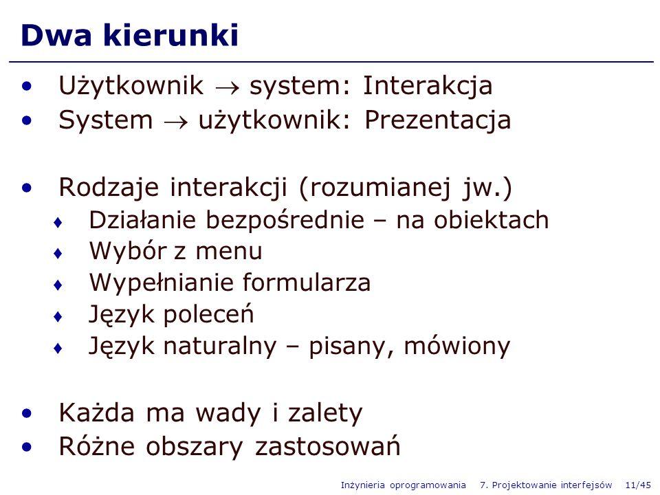 Dwa kierunki Użytkownik  system: Interakcja