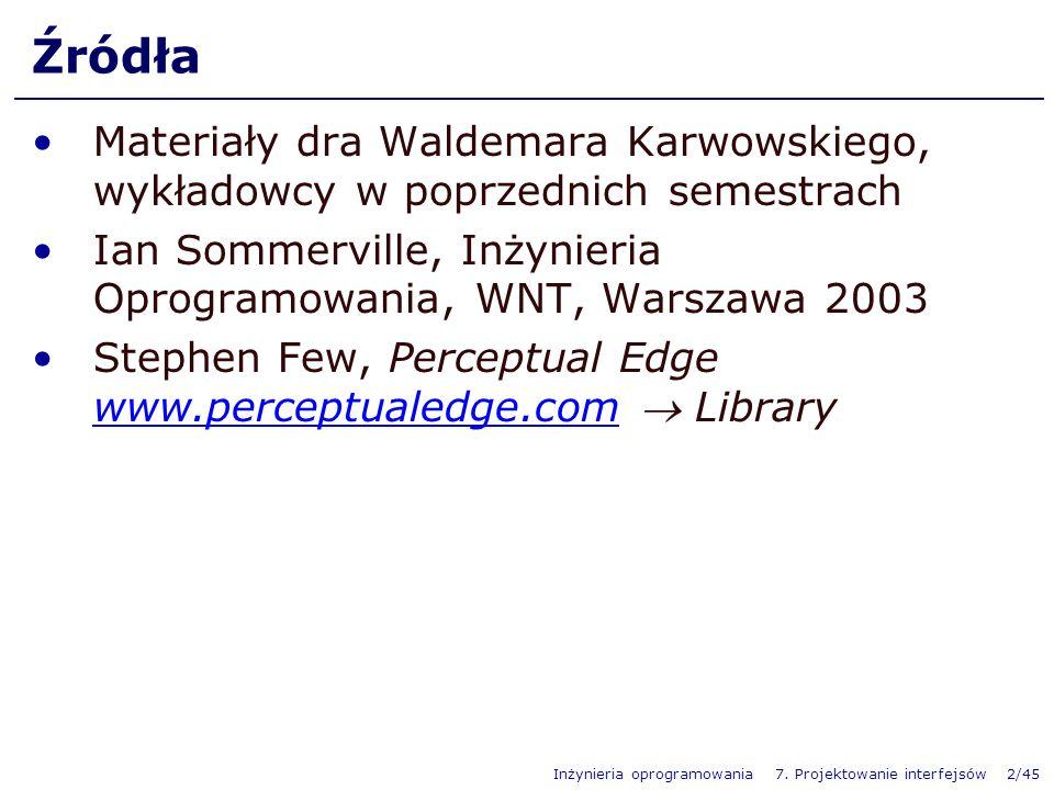 Źródła Materiały dra Waldemara Karwowskiego, wykładowcy w poprzednich semestrach. Ian Sommerville, Inżynieria Oprogramowania, WNT, Warszawa 2003.