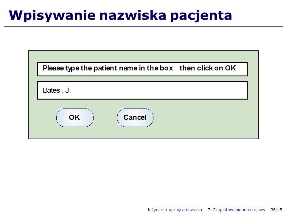 Wpisywanie nazwiska pacjenta