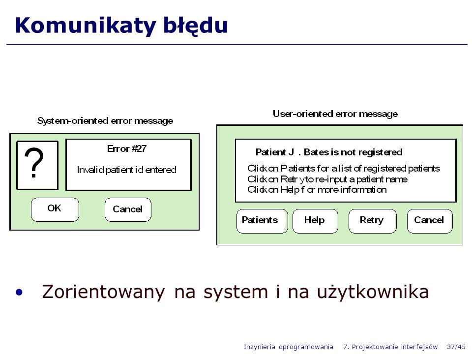 Komunikaty błędu Zorientowany na system i na użytkownika