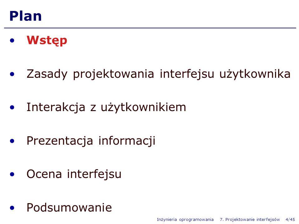 Plan Wstęp Zasady projektowania interfejsu użytkownika