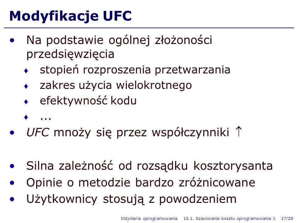 Modyfikacje UFC Na podstawie ogólnej złożoności przedsięwzięcia