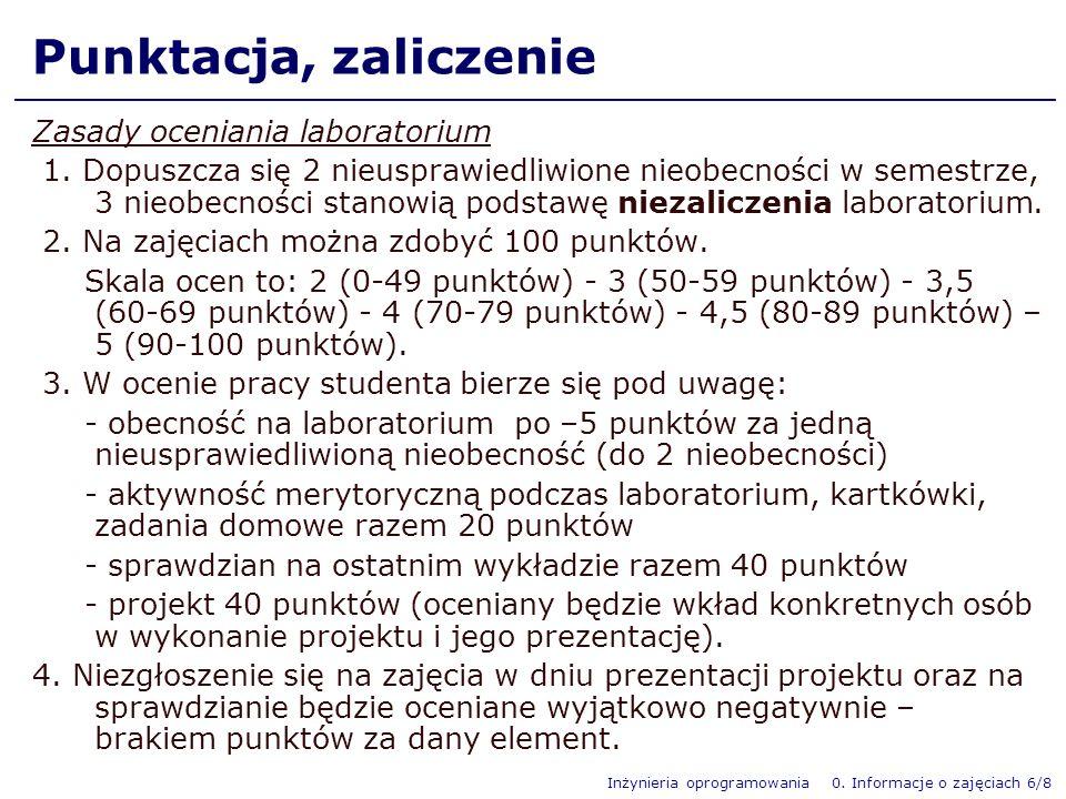 Punktacja, zaliczenie Zasady oceniania laboratorium