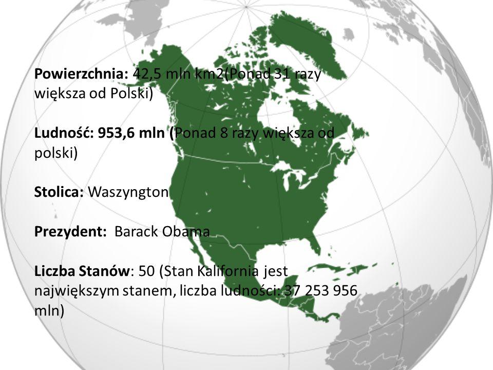 Powierzchnia: 42,5 mln km2(Ponad 31 razy większa od Polski)