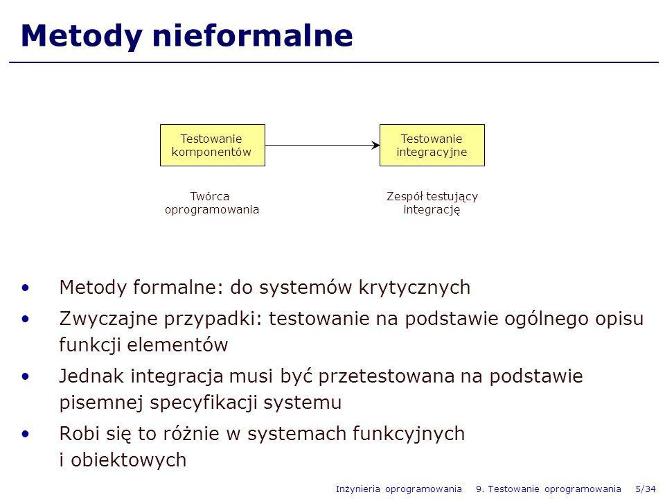 Metody nieformalne Metody formalne: do systemów krytycznych