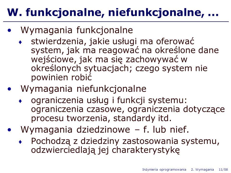 W. funkcjonalne, niefunkcjonalne, ...