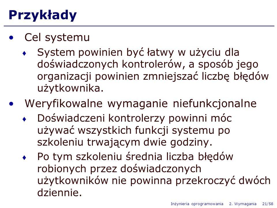Przykłady Cel systemu Weryfikowalne wymaganie niefunkcjonalne