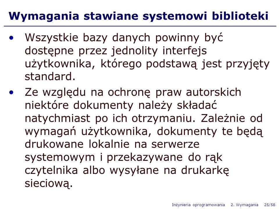 Wymagania stawiane systemowi biblioteki