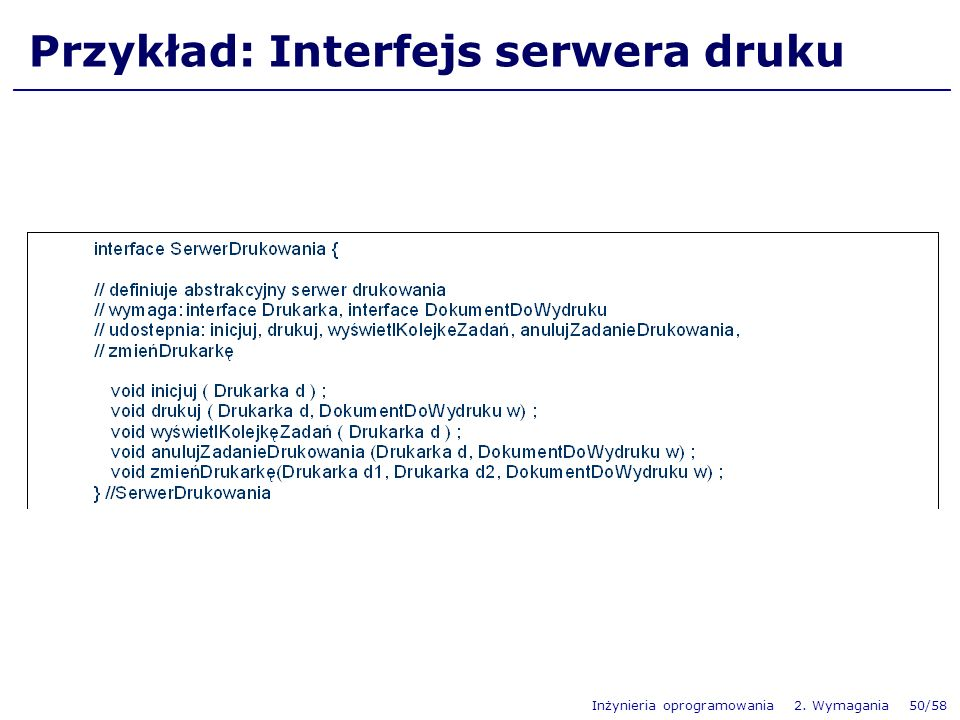 Przykład: Interfejs serwera druku