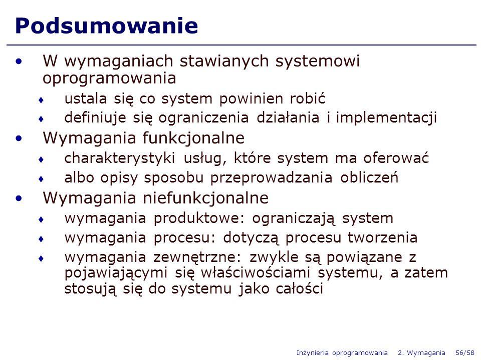 Podsumowanie W wymaganiach stawianych systemowi oprogramowania