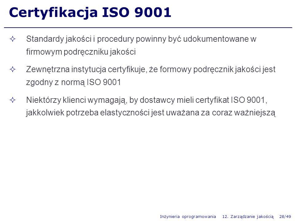 Certyfikacja ISO 9001 Standardy jakości i procedury powinny być udokumentowane w firmowym podręczniku jakości.