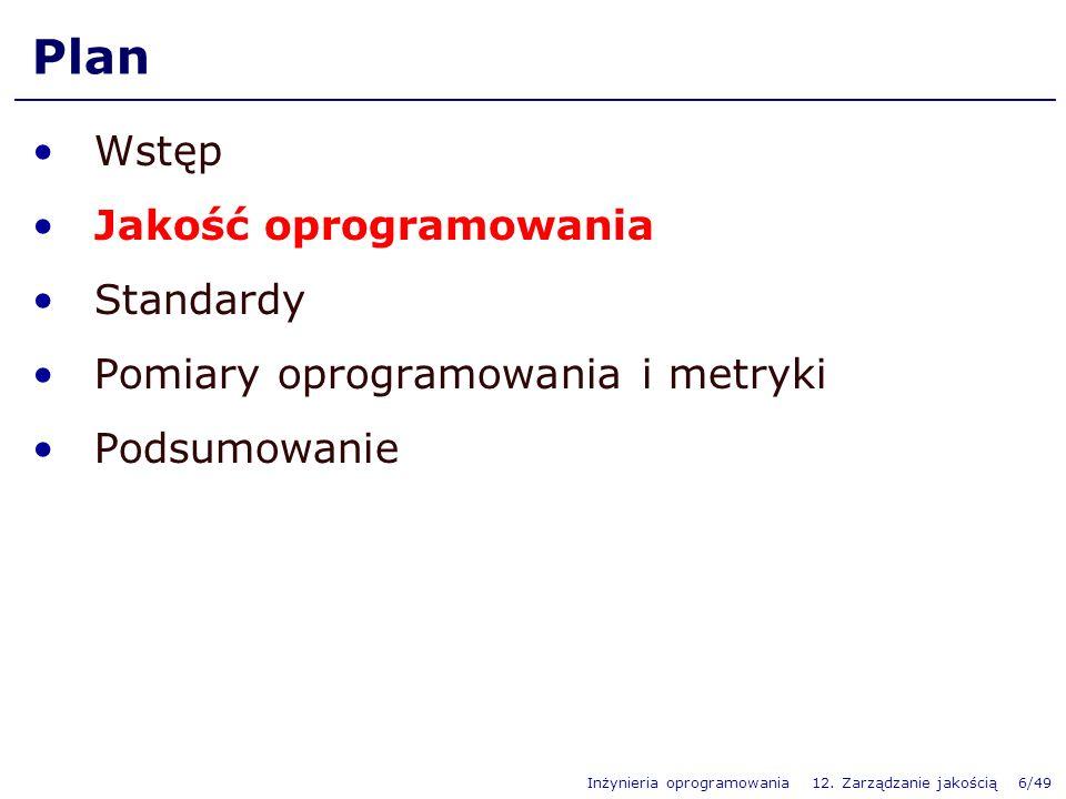 Plan Wstęp Jakość oprogramowania Standardy