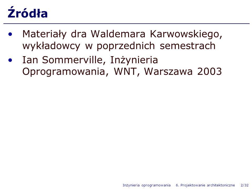 Źródła Materiały dra Waldemara Karwowskiego, wykładowcy w poprzednich semestrach.
