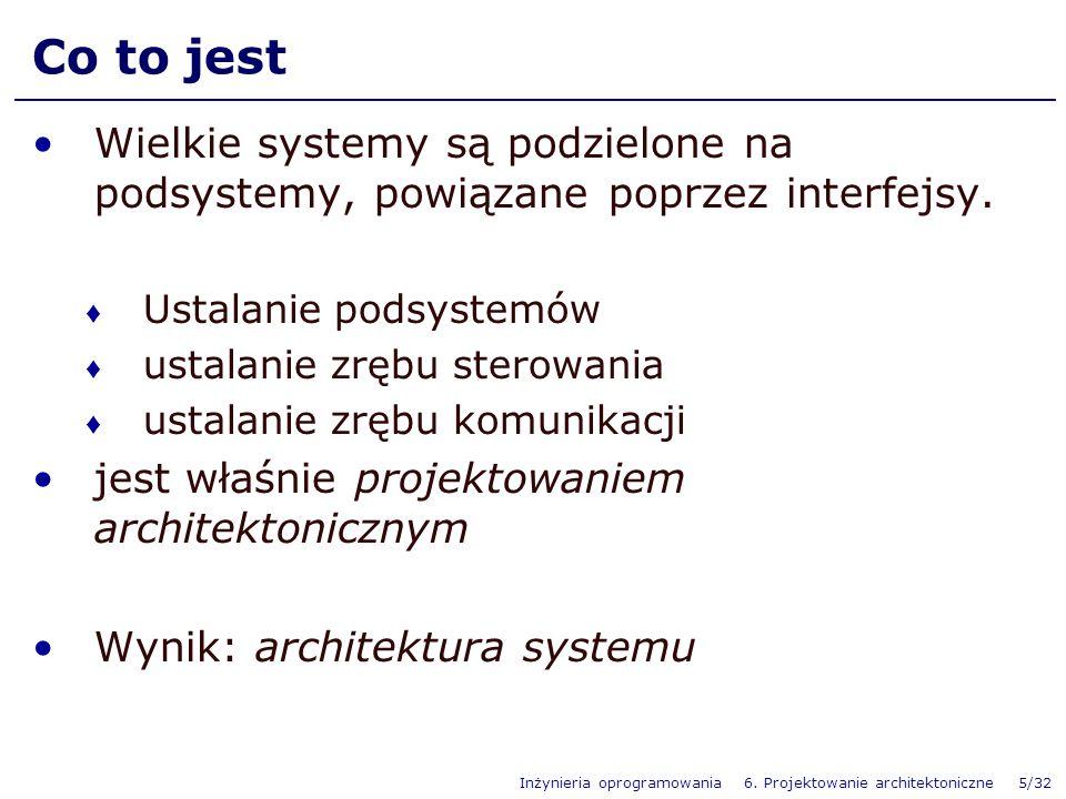 Co to jestWielkie systemy są podzielone na podsystemy, powiązane poprzez interfejsy. Ustalanie podsystemów.