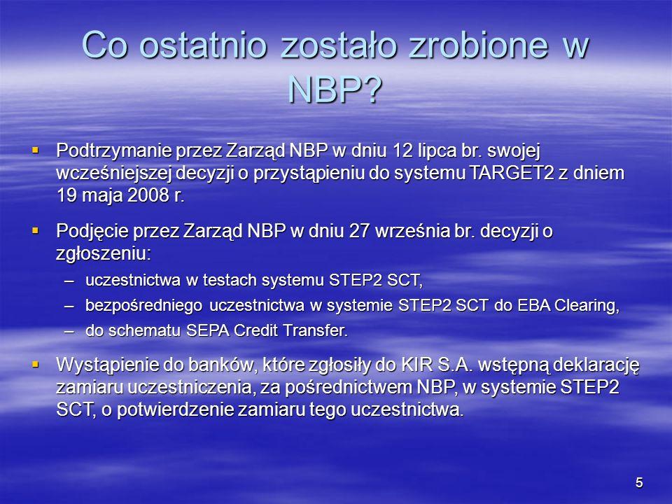 Co ostatnio zostało zrobione w NBP