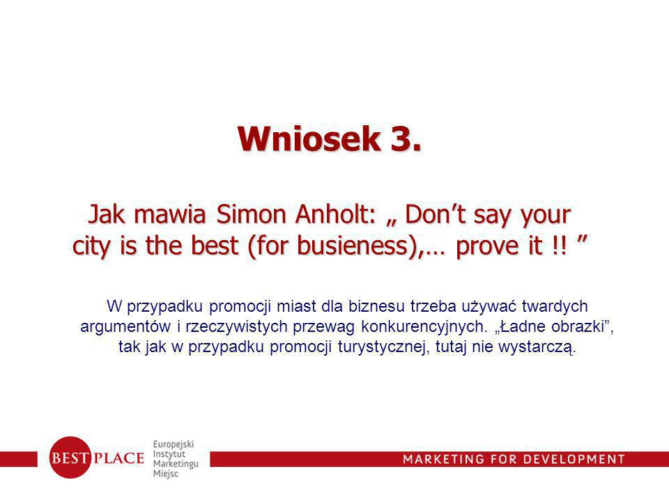 """Wniosek 3. Jak mawia Simon Anholt: """" Don't say your city is the best (for busieness),… prove it !!"""