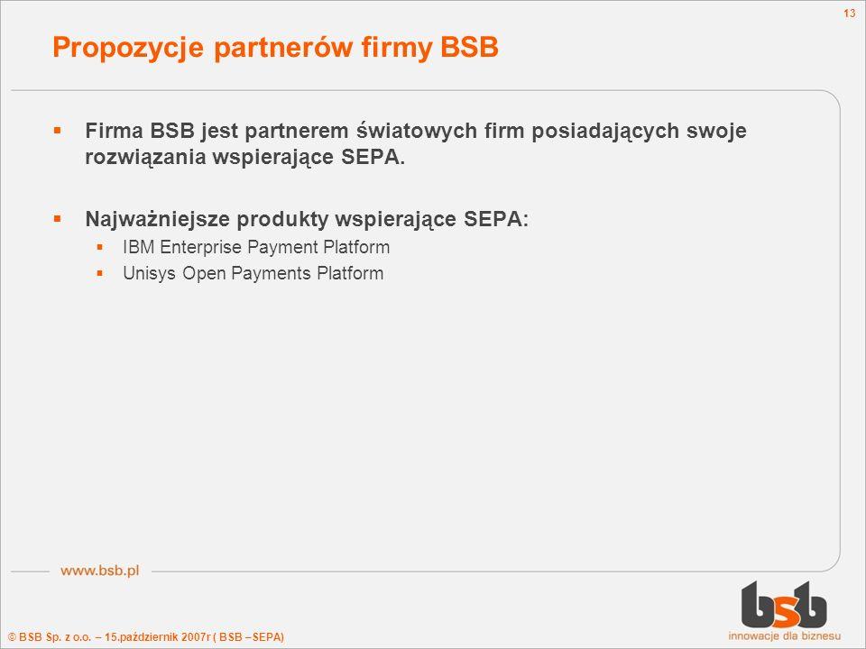 Propozycje partnerów firmy BSB