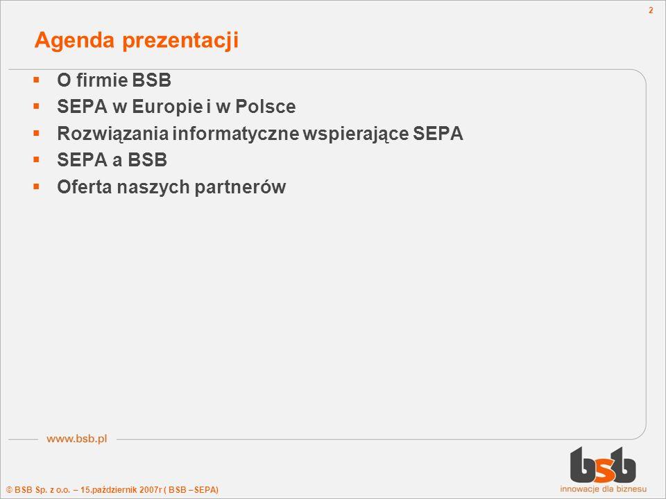 Agenda prezentacji O firmie BSB SEPA w Europie i w Polsce