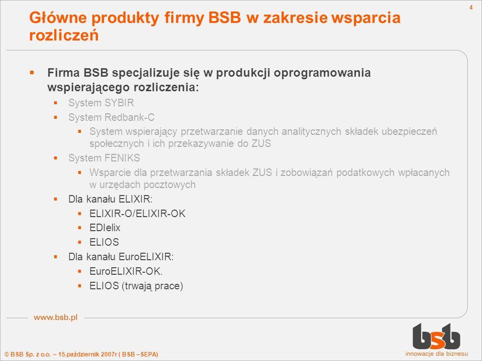 Główne produkty firmy BSB w zakresie wsparcia rozliczeń