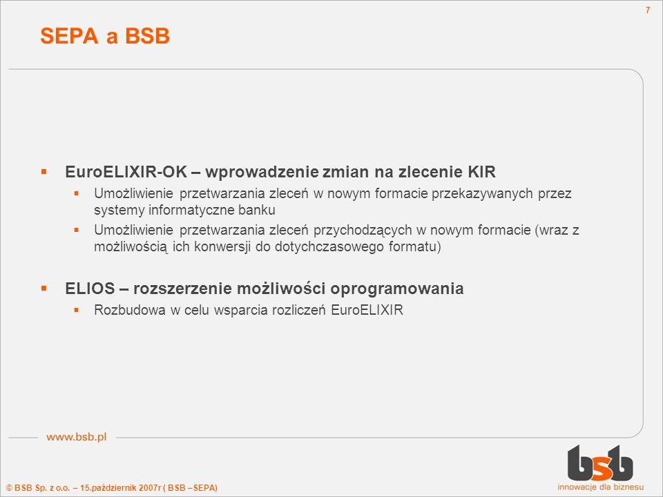 SEPA a BSB EuroELIXIR-OK – wprowadzenie zmian na zlecenie KIR