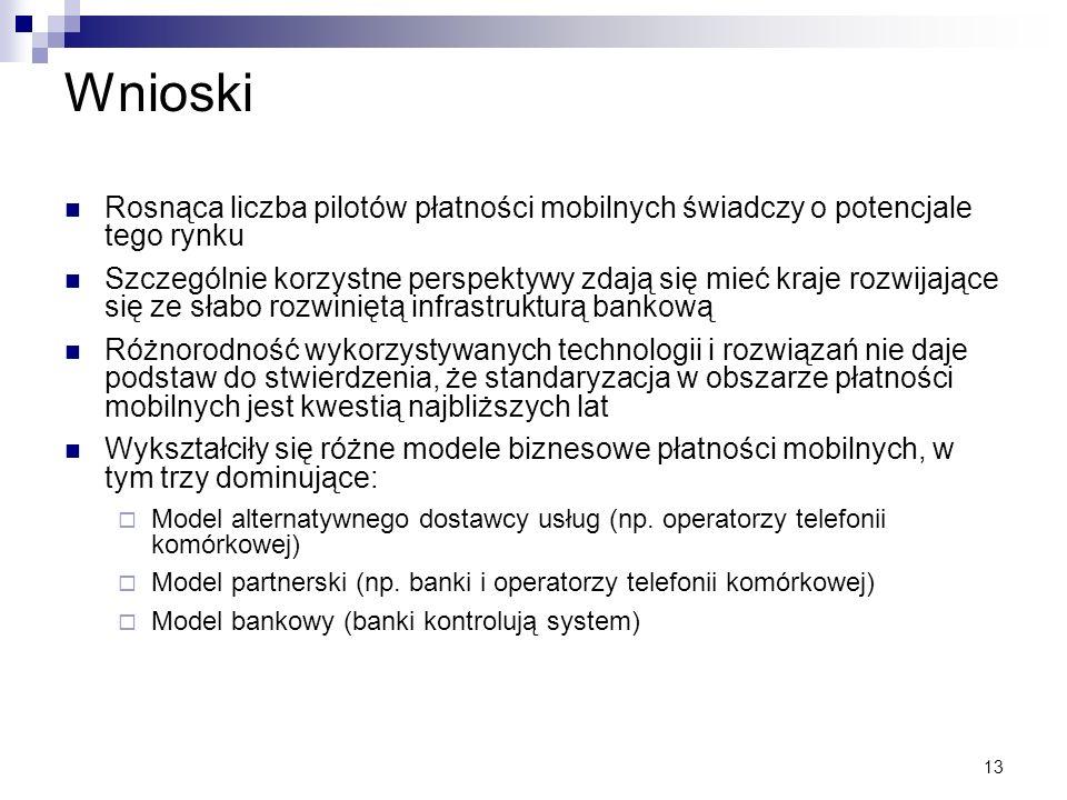 Wnioski Rosnąca liczba pilotów płatności mobilnych świadczy o potencjale tego rynku.