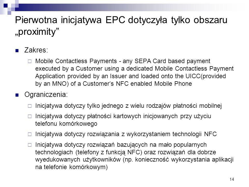 """Pierwotna inicjatywa EPC dotyczyła tylko obszaru """"proximity"""