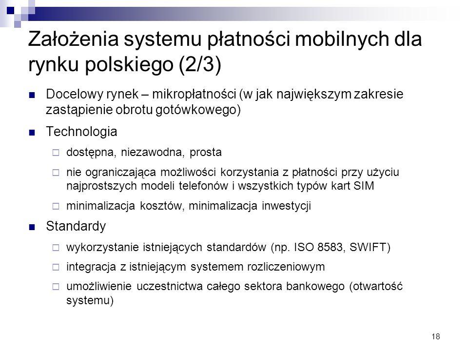 Założenia systemu płatności mobilnych dla rynku polskiego (2/3)