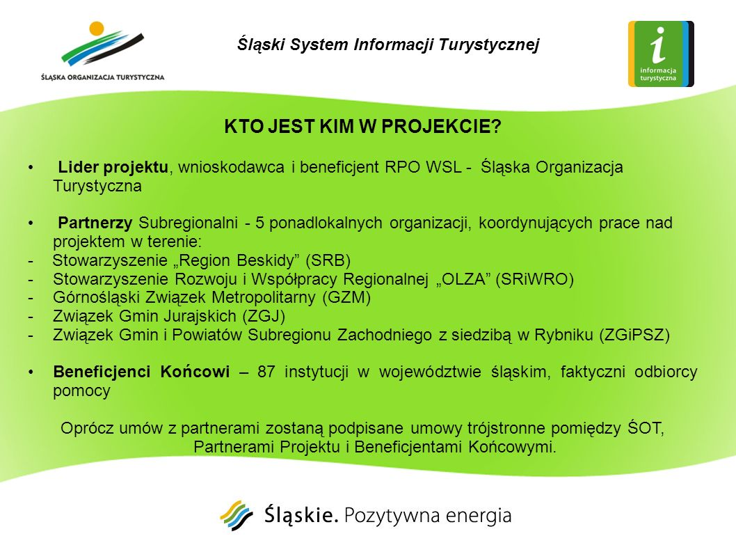 Śląski System Informacji Turystycznej KTO JEST KIM W PROJEKCIE