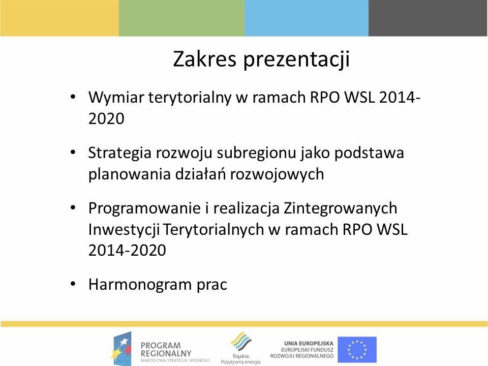 Zakres prezentacji Wymiar terytorialny w ramach RPO WSL 2014-2020