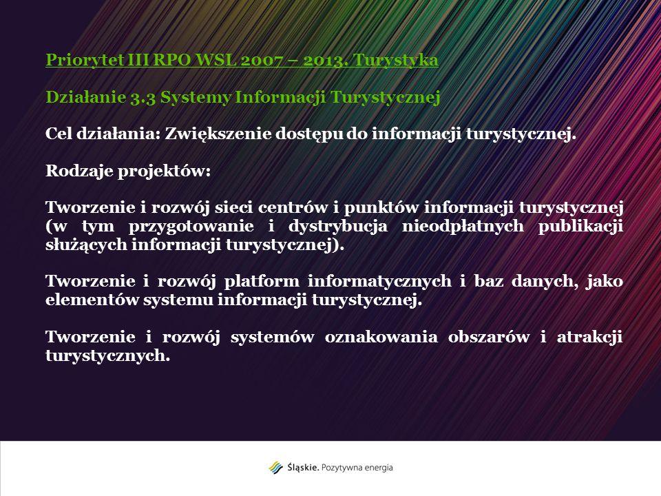 Priorytet III RPO WSL 2007 – 2013. Turystyka