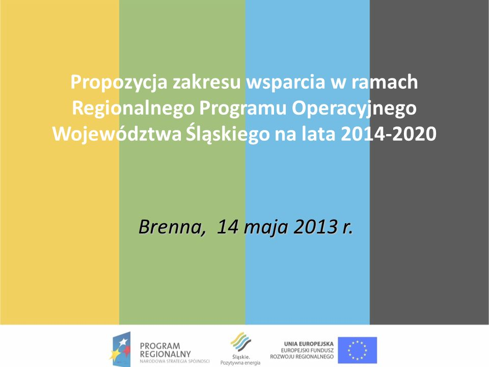 Propozycja zakresu wsparcia w ramach Regionalnego Programu Operacyjnego Województwa Śląskiego na lata 2014-2020