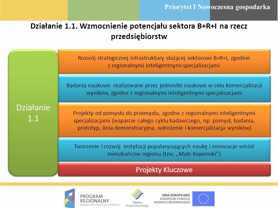 Działanie 1.1. Wzmocnienie potencjału sektora B+R+I na rzecz przedsiębiorstw