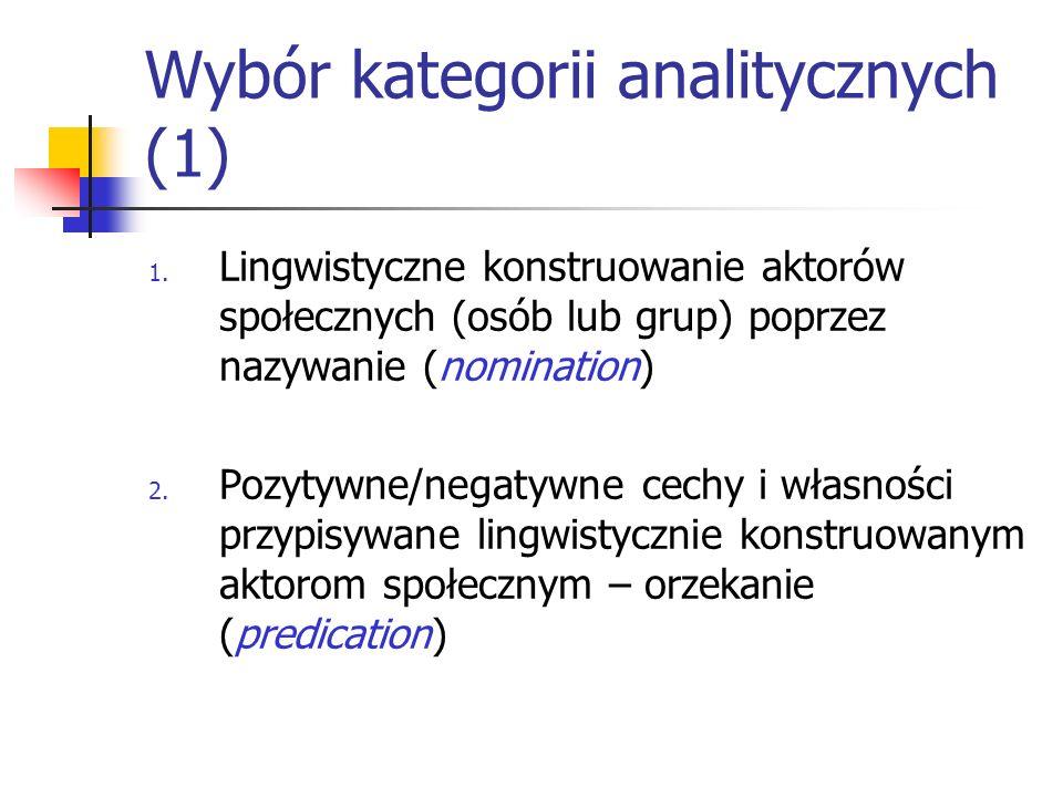Wybór kategorii analitycznych (1)