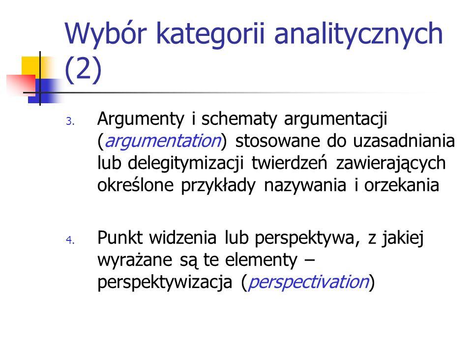 Wybór kategorii analitycznych (2)
